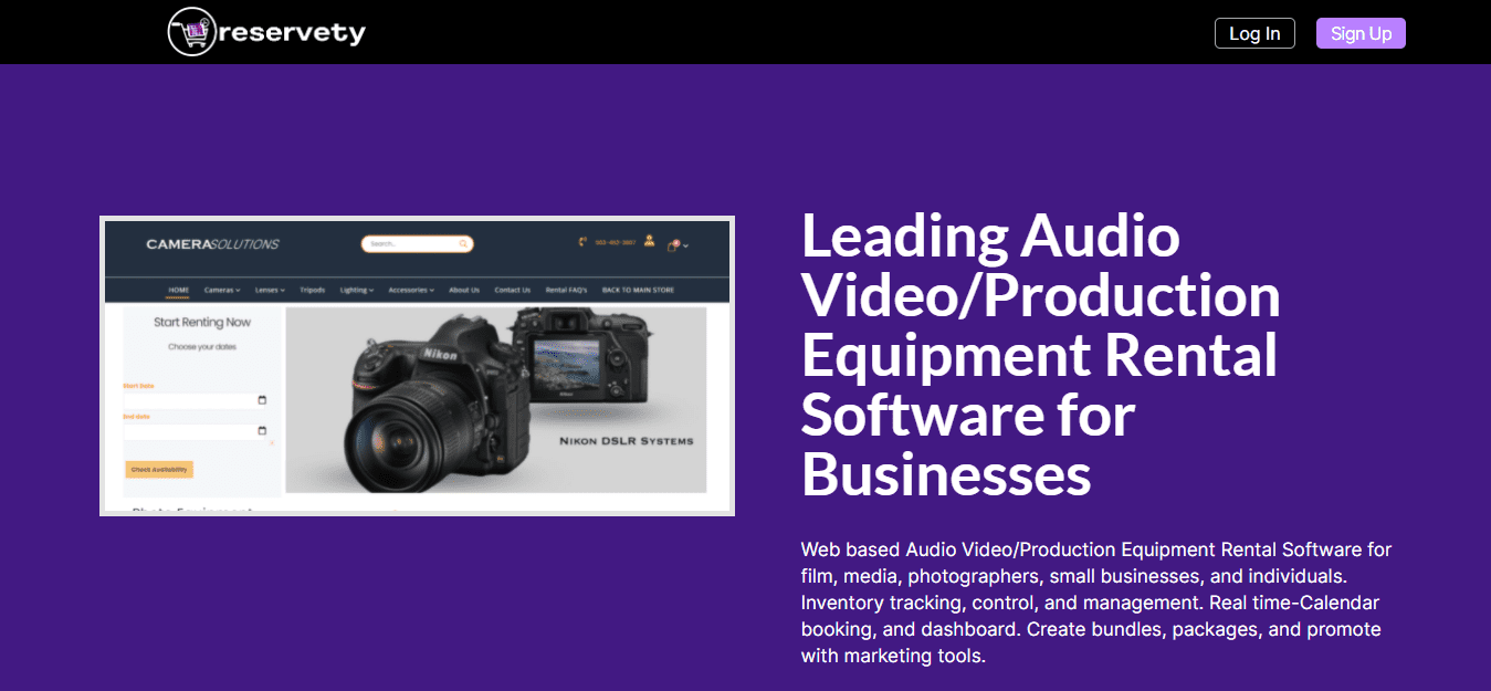 Audio Video Equipment Rental Software Page